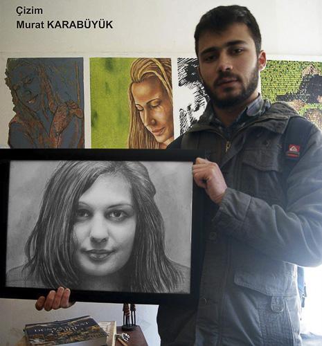 Karakalem Portre Sevgili Hediye İstanbul portre çizim 45