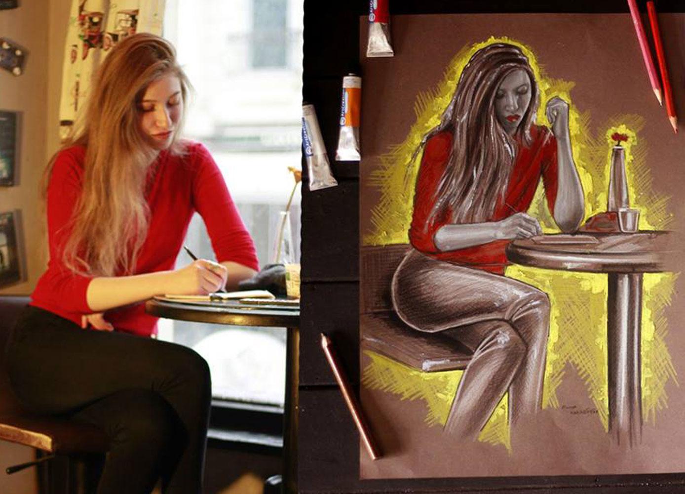 pastel Portre Çizimleri - İstanbul kadıköy bağdat caddesi üsküdar çizim karakalem 35